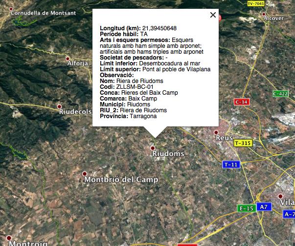 mapa para pesca en cataluña